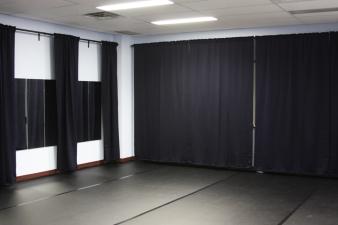 Rehearsal space photograph curtain walls