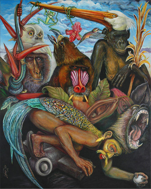 """Juan Lopezdabdoub's painting image. The Garden of Earthly Delights after El Bosco Oil on canvas. 60"""" x 48"""""""