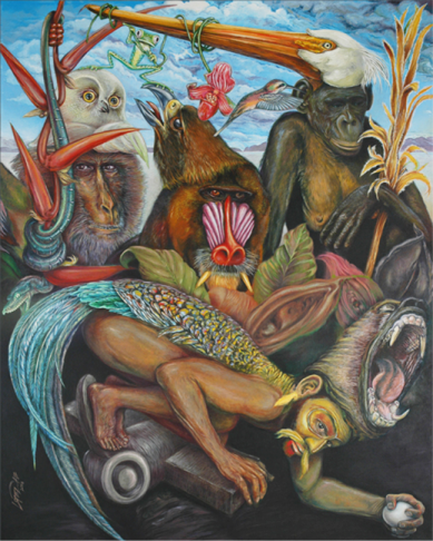 "Juan Lopezdabdoub's painting image. The Garden of Earthly Delights after El Bosco Oil on canvas. 60"" x 48"""