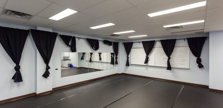 Rehearsal Space Curtains Tied