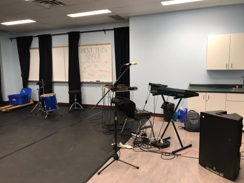 Binary Forest band set up in the Rehearsal Space